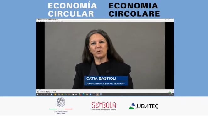 "Catia Bastioli among the guests of the webinar ""ECONOMÍA CIRCULAR"", organized by Symbola and Italian Embassy in Argentina"