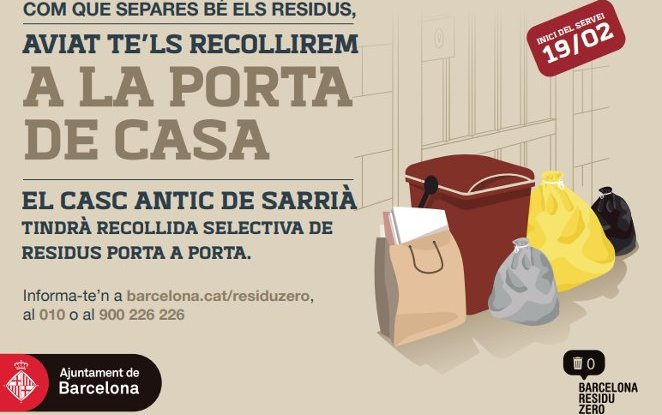 Sarrià Barcelona's historic district starts organic waste's  separate collection  with Mater-Bi bags
